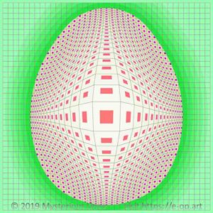 Vega style E-OP ART with a grid bend to an egg form, egg shell coloured boundaries and pink to purple coloured fields do form the illusion of a dotted Easter egg