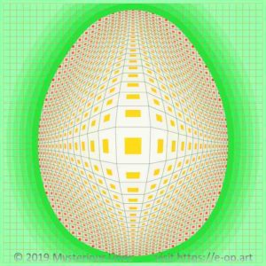Vega style E-OP ART with a grid bend to an egg form, egg shell coloured boundaries and orange to red coloured fields do form the illusion of a dotted Easter egg