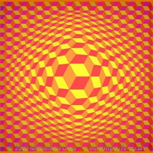 Hexagon style E-OP ART creating the Illusion of cubes with flipping edges, in the colours red, orange and yellow