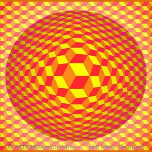 Hexagon style E-OP ART creating the Illusion of cubes with flipping edges, on an indirect illuminated bubble, in the colours red, orange and yellow