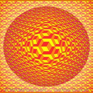 Hexagon style E-OP ART creating the Illusion of cubes with flipping edges, on an indirect illuminated bubble, involving boundaries, creating the illusion of cubes in the cubes in the colours red, orange and yellow