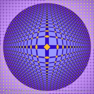Vega style E-OP ART, involving boundaries, interrupted by multiple rhombus-shapes creating the illusion of a bubble, in the colours blue to purple, involving a simultaneous contrast in the colours orange to yellow