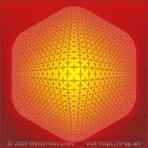 Vega style E-OP ART with a hexagon formed bend area, involving complex boundaries creating the illusion of stars, that can flip into diagonal (almost flower formed) starts in the colours red, orange and yellow