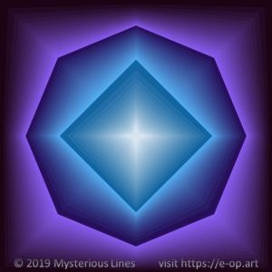 Vonal style E-OP ART creating the illusion of a 4 to 8 edged tunnel, in blueish to purple colours.