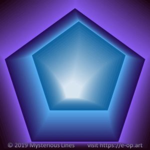 Vonal style E-OP ART creating the illusion of a pentagon formed tunnel, in blueish to purple colours.