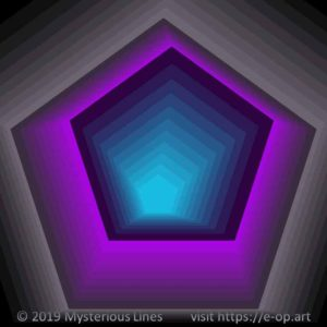 Vonal style E-OP ART creating the illusion of a pentagon formed tunnel, in the colours grey, purple and blue.