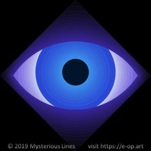 Vonal style E-OP ART creating the illusion of an eye staring at you in bluish colours.