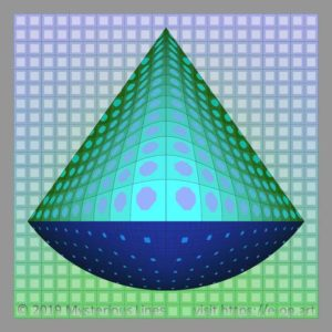 Vega style E-OP ART with top conical – bottom round formed bend area, with different areas of resolution in the colours blue, to green.