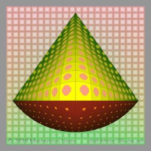 Vega style E-OP ART with top conical – bottom round formed bend area, with different areas of resolution in the colours red, to green.