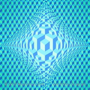Hexagon style E-OP ART with diamond formed bend area. Within the bend area, the resolution is doubled, leading to a cube in cube illusion and underlining the sharp corners. Cold, mainly cyan colours form the illusion of frozen ice.