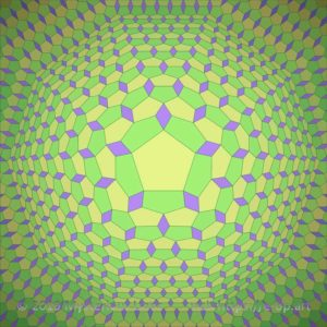 Special style E-OP ART with none Cartesian grid in a 10-edged bend area. Mainly greenish colours, leading into yellow, interrupted by purple rhombs.