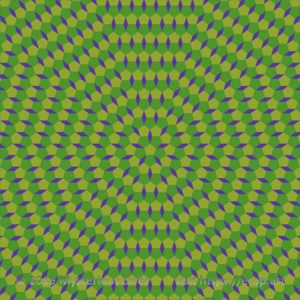 Special style E-OP ART with none Cartesian grid. Mainly greenish and yellow colours, interrupted by purple rhombs.