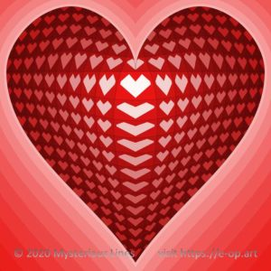 Vega style E-OP ART with Vonal style background, forming a hearts, inspired by a deck of cards.