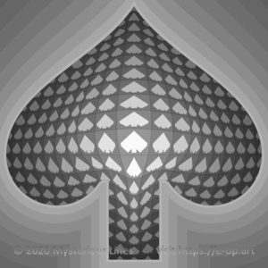 Vega style E-OP ART with Vonal style background, forming a spade, inspired by a deck of cards.
