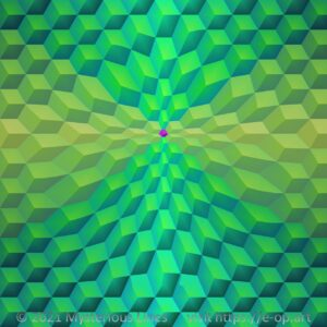 Hexagon style E-OP ART with a pentagram-formed bending area in greenish colours reaching to yellow and turquoise.