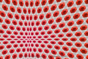 Special style E-OP ART with a bend trihexagonal pattern, in reddish and greyish colours.